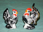 Vintage Chicken  Rooster Salt Pepper Shaker Set Spice Ceramic Black White Gold