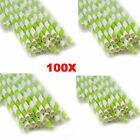 100pcs Green Striped Paper Drinking Straws Rainbow Mixed For Party Decorations