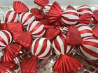 Christmas Holiday Red White Candy Cane Peppermint Ornaments Decor Set of 12