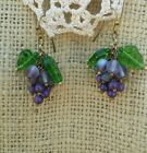 Vintage Victorian Style Grape Cluster Earrings Glass Beads Green Leaf Dangle