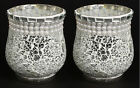 Silver Mirror Mosaic Votive Candle Holder Vase Pearl Bead Border 475H Set of 6