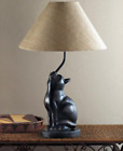 Curious Cat Lamp Table Light Cloth Shade Home Decor Collectible Cats