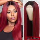 Fashion Ombre Burgundy Lace Front Wig Straight Hair Red Synthetic Heat Resistant
