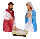 Blow Mold 3 Piece Outdoor Nativity Scene Holy Family with Lights Holiday