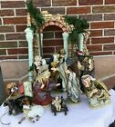 Owell Ceramic and Cloth Nativity Large Palm Trees Jesus Wisemen Animals 14 Pc