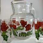 Vintage Pitcher With Ice Lip With Set Of 4 Glasses Red Roses