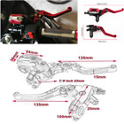 Red 7/8'' Clutch Brake Levers Master Cylinder Reservoir Set For Most Motorcycle
