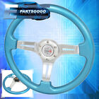 Universal 6 Bolt 350mm Blue Deep Dish Heavy Duty Steering Wheel Type R Horn