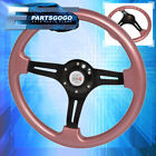 Universal 6 Bolt Rose Gold Steering Wheel Black Center Jdm Typer Button