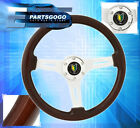 Deep Dish Steering Wheel Wood Grain Yellow Green Leaf Drift Assembly For Nissan