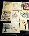 Rubber Stamps Flower Floral Design Lilies Apple Tree Lot of 8 wood
