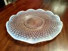Hobnail Plate Pale Blue White Clear Glass About 11