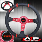 350mm 35 Deep Drift Racing Leather Steering Wheel Black Red Stitch For Nissan