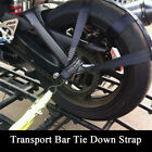 Black Universal Motorcycle Rear Wheel Handlebar Transport Bar Tie Down Strap