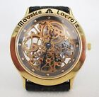 Mens Maurice Lacroix Skeleton Watch 18 K Gold Electroplated Black Leather Strap