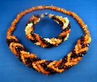 NEW GENUINE Lithuanian TESTED Baltic AMBER Braided NECKLACE BRACELET SET 3 color