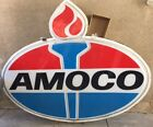 Vintage 8' x 7' Amoco Double Sided Lighted Sign With Mounting Pole