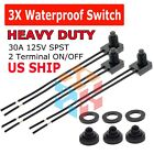 3pcs 12V 4 Wire Leads Waterproof On Off Push Button Switch for Motorcycle Car