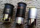 LOT OF 3 TELESCOPE EYEPIECES 20MM 25MM 125 CELESTRON PLOSSL WIDE ANGLE