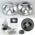 7 Round OE Style Glass Headlight Conversion w 6000K 36W LED H4 Bulbs Pair Ford