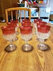 King Crown Diamond Point Stem Glasses Wine/water Indiana Cranberry Ruby.