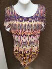 New Chicos Native Juliette Embellished Multicolor SS Top Size 3  XL 16 18 NWT