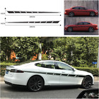 Side Decals Car stickers Panel Racing Stripes 2 Sides Graphics Black waterproof