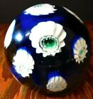 Vintage Cobalt Blue w Shell Accents Art Glass Paperweight Very Good Condition