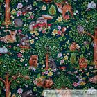 BonEful FABRIC FQ Cotton Quilt Green Woodland Forest Baby Animal Deer Bunny Girl