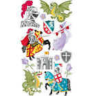 Scrapbooking Stickers Sticko Medievil Times Knights Dragons Castle Horses Roses