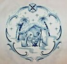 Delft Blue Nativity EMBROIDERED 6 QUILT BLOCKS Gorgeous LARGE DESIGNS