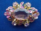 Exquisite Pink Austrian Vintage Brooch Faceted Center Glass Crystal w Enamel