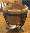 Longaberger Small Planter Basket - Wrought Iron Stand - Protector
