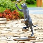 Step By Step Curious Cat Kitty Dragonfly Garden Statue Sculpture Metal 20H