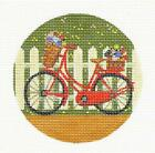 Fairy Bicycle by the Fence handpainted 4 Needlepoint Canvas from Painted Pony