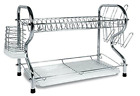 2 TIER DISH RACK DRAINER Kitchen Dinner Plates Rust Resistant Drying Tray Holder