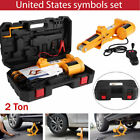 12V 2 Ton Automotive Electric Scissor Car Jack Lifting Impact Wrench Tool US
