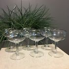 Five Vintage Silver Rimmed Crystal Cocktail Wine Champagne Stemmed Glasses Bar