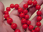 Art Glass Bead Necklace VINTAGE Deep Red Hand Blown Murano Venetian  Knotted
