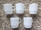 Anchor Hocking Fire King White Milk Glass Stacking Cups Mugs Set Of 5