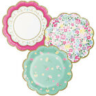 FLORAL TEA PARTY SMALL SCALLOPED PAPER PLATES 8 Birthday Supplies Dessert