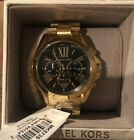 NWT! Michael Kors Bradshaw Gold Stainless Steel Watch Black Dial MK5739