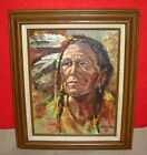 Colorful Native American Indian Chief Oil Painting Signed