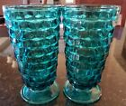 2 Indiana CUBIST TEAL BLUE ICE TEA WATER TUMBLERS GLASSES 6 1/8