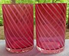 Set of TWO VIntage Cranberry Glass Spiral Optic/Twist Tumblers