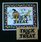 HAPPY HALLOWEEN Trick or Treat saying wood rubber stamp use with fluffles witch