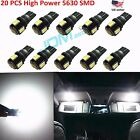 JDM ASTAR 20x T10 White Samsung 5630 SMD 12V LED License Dome Light Bulb 194 168