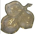 Vintage Mid Century Pressed Glass Candy Dish Bon Bon Bowl Divided Leaf
