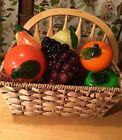 Vtg Murano Style Glass Fruit Apples Orange Grapes Lemon Pear Tangerine 7 PC