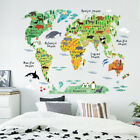 Animal Educational World Map Wall Sticker Decal For Kids Baby Room Deco TDO